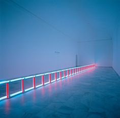 An artifical barrier of blue, red and blue fluorescent light (to Flavin Starbuck Judd) - Flavin, Dan - Conceptual art - Installation - Abstract - Term #sculpture #fluorescent #lights #colour #light #flavin