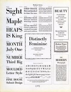 Bodoni type specimen