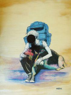 Globaltrotter and dog. #acuarela #wood #backpacker #dog
