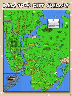 RobertBacon SuperNewYorkCitySubway viaAnimal.jpg #mario #super #design #graphic #map #nyc