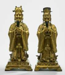 Shuiguan and Diguan from fire-gilded Bronze shown standing