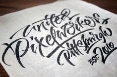 Calligraphi.ca — United Pixelworkers, Tombow Dual brush pen + Pilot gel pen, rice paper — Sergey Shapiro