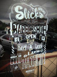 Slick's Barbershop Window Art by Craig Black