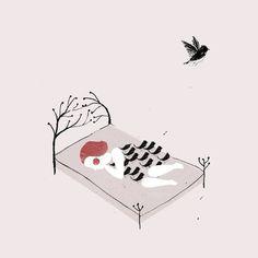 elisa talentino #girl #illustration #bed #birds #dream