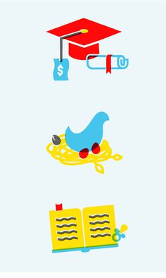 Education illustration set via Patrick Iadanza #bad #egg #nest #icon #money #book #college #set #illustration #education #service #graduation #baby