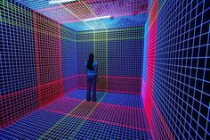 Imaginary Foundation #line #cyber #perspective #lights #grid #colors #future