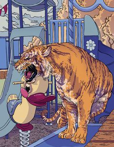 Zanesville - Vice Magazine - By Conor Nolan #playground #illustration #vice #nolan #tiger #drawing #conor #magazine