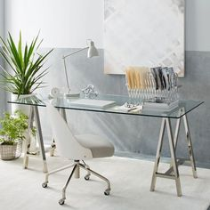 Cross-Base Desk - Polished Nickel, West Elm