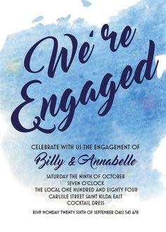 Blue Watercolor - Engagement Invitations #paperlust #engagementinvitation #engagementcard #engagementinspiration #design #paper #digitalcar