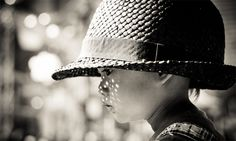 Sun Freckles #b&w #kid #child #large #photography #hat #street #cute