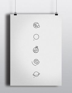 S P ___ C E on Behance #line #saturn #whitespace #orbit #clean #mars #spaceship #illustration #stars #white #stroke #minimalist #planets #jupiter #nasa #space #armstrong #mission #sun #satellite #hubble #astronaut #black #rocket #drawing #control #moon