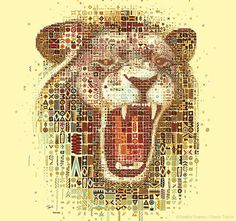 Lions mosaic portraits #illustration #portrait #mosaic #art