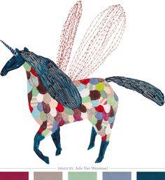 Stitched Illustration by Julie Van Wezemael. #unicorn