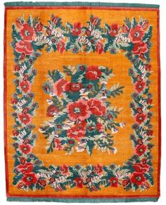 Folk Art Rug - Nepalese Wool and Silk Rug - 9′ x 12′, Custom Rug Sizes
