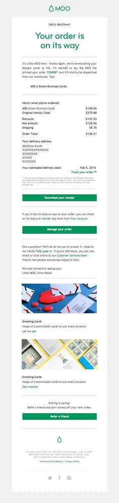 Moo email receipt #email #ux