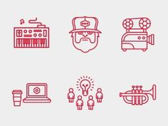 Dribbble - Build 2012 Icons. by Tim Boelaars #lines #red #icons