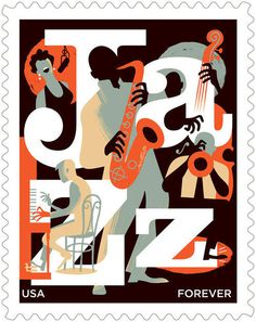 paulrogersstudio Advertising and Institutional Postage stamp for the USPS honoring jazz. #illustration #print #poster