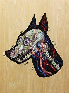 this isn't happiness™ Peteski #illustration #dog #skull