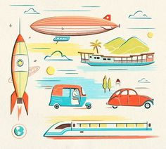 Vintage illustration #bright #red #yellow #color #illustration #cute #blue #fun #transportation