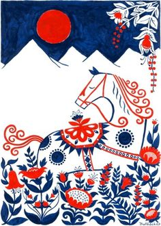 From Scandinavia with love - design & style (Dalahorse screen print by Swedish Henning...) #design #scandinavian #art