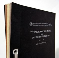 The Official Manufacturing Company / Work / Ace Hotel / Press Kit #binding #print