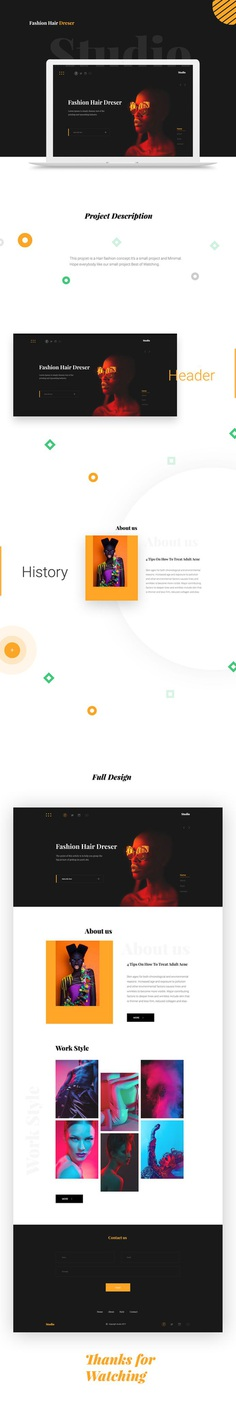 Studio - Fashion hair dreser landing page design on Behance