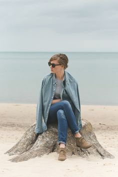Denim | Lake Michigan, MI. #fashion #photography #portrait