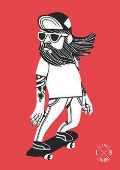 Longbearded by Jorge Lawerta, via Behance #print #skate #skateboard #character