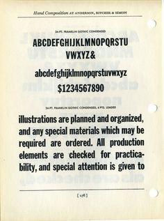 Franklin Gothic Condensed type specimen