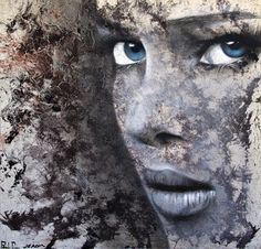 "Saatchi Online Artist: Jerom Art; Aerosol Paint, 2011, Painting ""Blue Eyes"" #eyes #women #illustration #portrait #blue"
