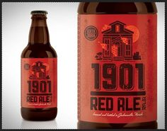 Kendrick Kidd » Packaging #retro #texture #beer #red #fire #bottle red ale #1901 #kendrick kidd