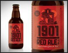 Kendrick Kidd » Packaging #retro #texture #beer #red #fire #bottle red ale #1901 #kendrick kidd