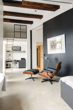 Eames Chair, Ceiling Beams, Paint, Modern