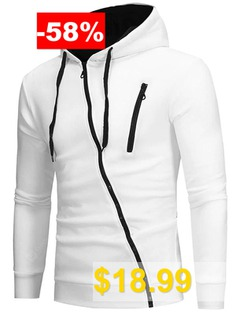 Men #Unique #Diagonal #zipper #Slim #Soft #Hoodie #- #WHITE