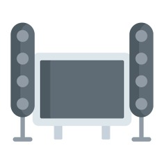 See more icon inspiration related to audio, music and multimedia, furniture and household, home theatre, house things, home theater, equipment, electric, electronics, speakers, tool and music on Flaticon.