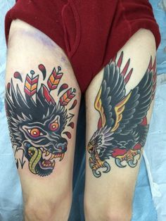 Fuck yeah traditional tattoos! #thigh #legs #leg #eagle #wolf