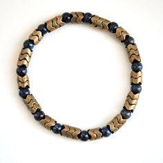 Gold Snake Lapis Bracelet