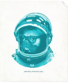 LA GRAPHICA #astronaut #cyan #design #space #french #bulldog