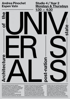 Poster for architecture classes. For Andrea Pinochet. Oslo, NO.