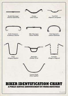 shadowbunnies:handlebars are pretty awesome to identify riders according to this. #bicycle #public #identification #graphic #bike #rider #handlebar #table #chart