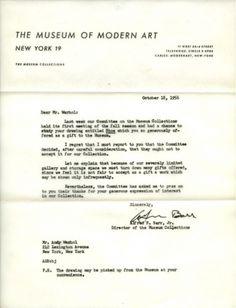 Design Fodder (Andy Warhol's MoMA Rejection Letter) #andy warhol #letterhead #moma #rejection