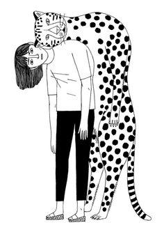 #girl #cheetah #illustration