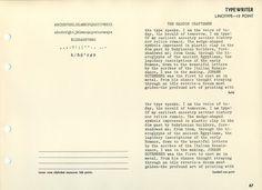 Linotype typewriter type specimen #type #specimen #typography