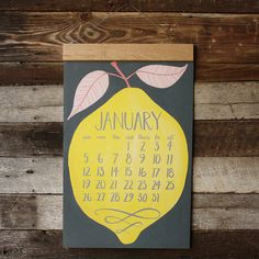 2014 Oversized Wall Calendar HUGE with wood hanger #calendar #design #graphic