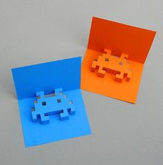 How to Make 8-Bit Pop-up Cards #invaders #bit #space