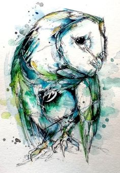 This owl is in love with every single one of you. #paint #illustration #watercolor #owl
