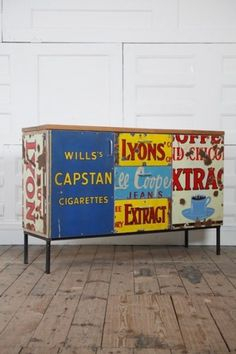 Homestyle / repurposed enamel sign furniture #signage #furniture #recycled