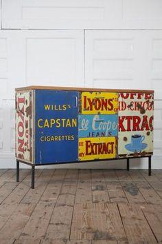 Homestyle / repurposed enamel sign furniture