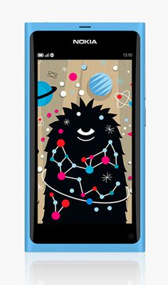 Onesidezero Illustration : Artwork by Brett Wilkinson #nokia #phone #planets #fun #monster #wallpaper #character #science #furry