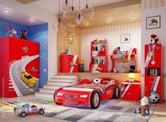 Artistic decor in child bedroom with car decoration #artistic #bedroom #decor #bedrooms #art #artiistic